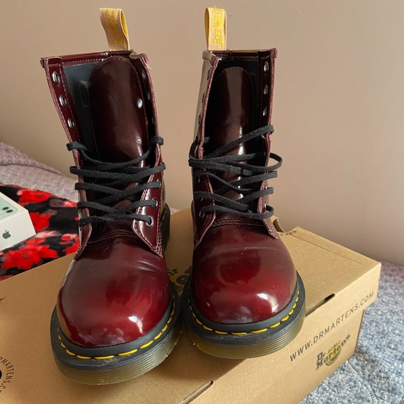 Dr. Martens Shoes | Vegan 46 Cherry Red